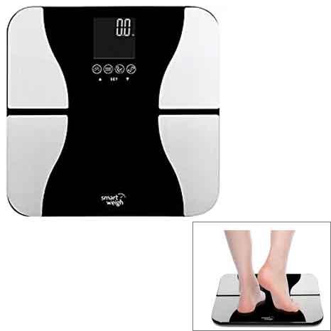 Smart Pesa Digital Cuarto de baño BMI Peso corporal escala de peso, vidrio templado, 200 kgs, negro