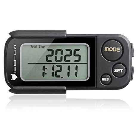 Icefox podómetro 3D con clip y correa, eBook libre, memoria 30 días, contador de paso exacto, millas y kilómetros, calorías, tiempo del ejercicio